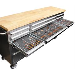 "72"" Stainless Steel Tool Chest + Tools"
