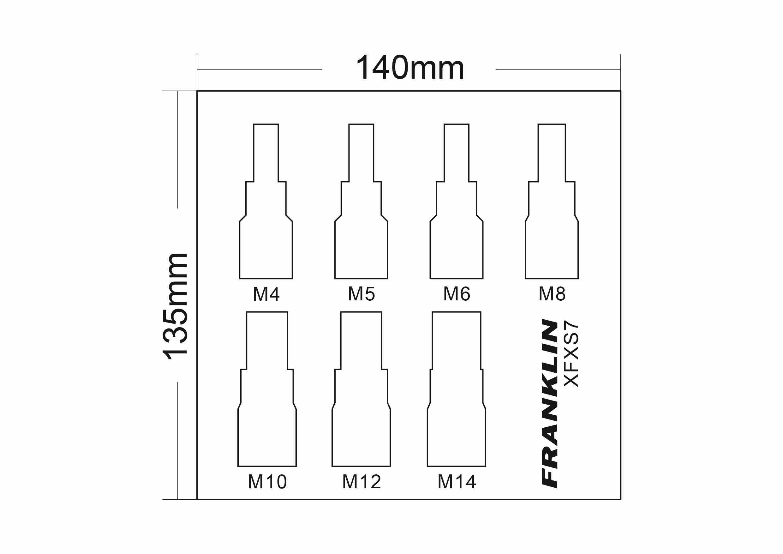 franklin xf 7 pce spline bit socket set 3  8 u0026quot  dr