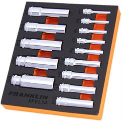 "Franklin XF 14 pce External Star Deep Socket Set 1/4"" 3/8"" 1/2""  dr"